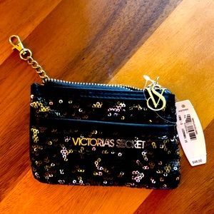 NWT Victoria's Secret Black Sequin Coin Purse